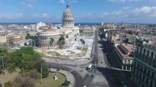 Cuban Landscape Buildings Old Havana Drone Flying In Sky