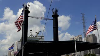Detail of smokestacks on a tourist steamboat on the Mississippi river in New Orleans, Louisiana, United States of America