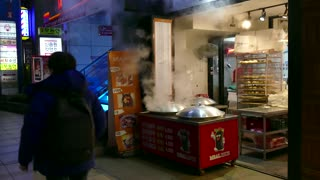 Family restaurant cooking and selling traditional Korean food. Gangnam district, Seoul, South Korea, Asia