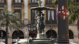 Fountain In Placa Reial Royal Square In Barcelona