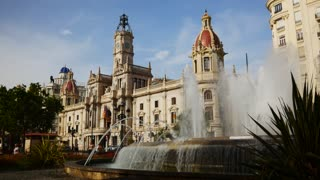 Fountain Of Plaza del Ayuntamiento In Valencia Spain