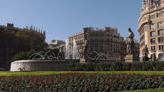 Fountains And Statues In Placa Plaza Catalunya Barcelona Spain