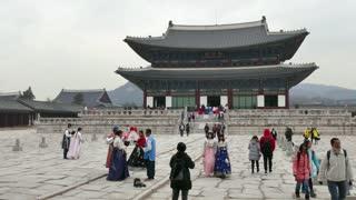 Geunjeongjeon, the main throne hall of Gyeongbokgung Palace. Korean monument, landmark, old building, historic site, UNESCO World Heritage Site. Seoul, South Korea, Asia