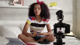 Girl Recording Vlog Video Blog At Home With Camera