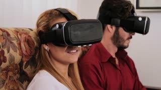 Husband Wife Man Woman Playing Virtual Reality 3D VR Game