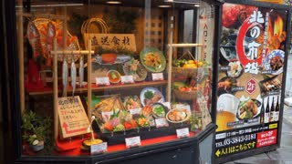 Japanese restaurant displaying dishes of traditional Asian food in Tokyo, Japan, Asia