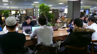 Kyobo bookstore in Gwanghwamun - Jongno area, Seoul, South Korea, Asia. Readers studying, Asian people reading books in bookshop, book store, book shop, Korean library