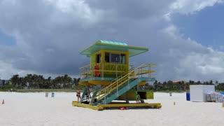 Lifeguard station facing the Atlantic Ocean in South Beach, Miami Beach, Florida, USA