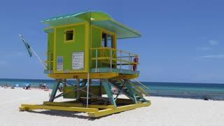 Lifeguard tower facing the sea in South Beach, Miami Beach, Florida, USA