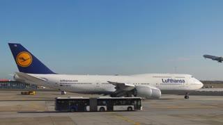 Lufthansa Airplane Parking In Frankfurt International Airport