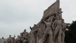 Monument at the entrance of Chairman Mao Memorial Hall or Mausoleum of Mao Zedong in Tiananmen Square, Beijing, China, Asia