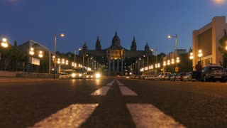 Night Shot Of National Art Museum Museu Nacional De Catalunya