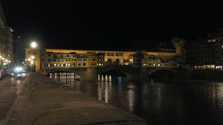 Night View Of Ponte Vecchio And Houses In Florence