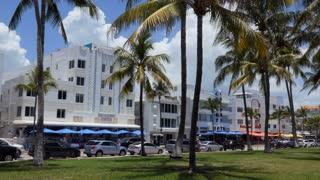 Ocean Drive in the Miami Beach Architectural District (Old Miami Beach Historic District or Miami Art Deco District), US historic district in the South Beach neighborhood of Miami Beach, Florida, USA