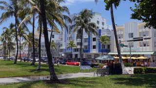 Ocean Drive in the Miami Beach Architectural District (Old Miami Beach Historic District or Miami Art Deco District), US historic district in the South Beach neighborhood of Miami Beach, Florida, USA