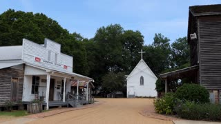 The Mississippi Agriculture & Forestry Museum in Jackson, Mississippi, United States. Small old town from the 1920s with church, school and general store buildings reconstructed for tourists