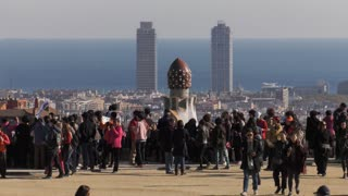 People Visiting Parc Guell Barcelona Wide Shot