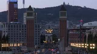 Placa Espanya Spain Square In Barcelona At Night