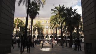 Placa Reial Royal Square Along The Rambla De Barcelona