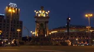 Plaza Espana Placa Espanya In Barcelona At Night