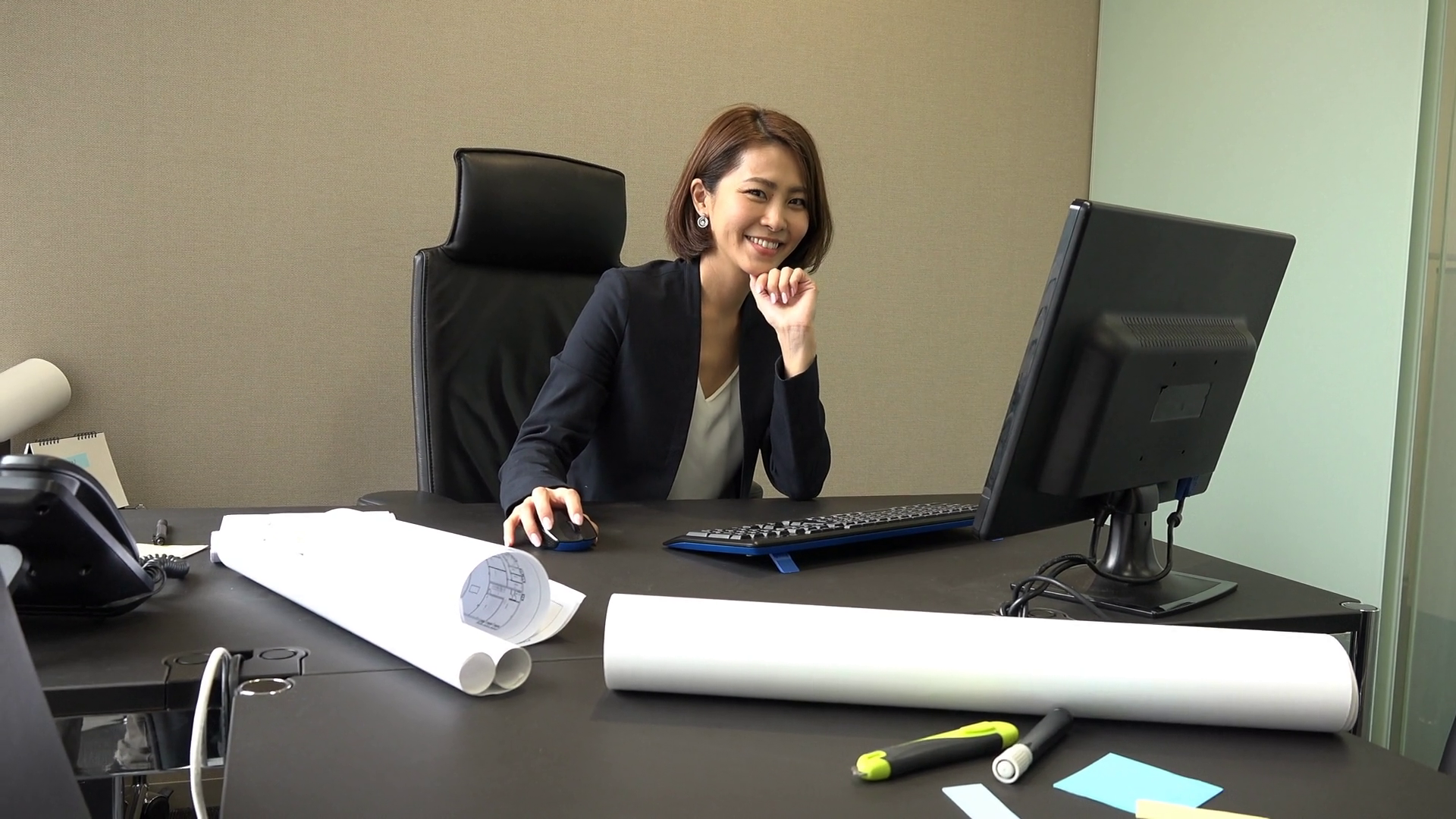 Portrait of happy Asian people at work in executive office ...