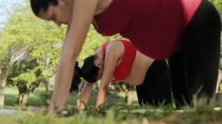 Pregnant Woman Doing Yoga Workout For Backpain Outdoors