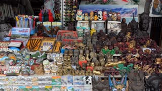Presents, gifts and souvenirs in local market shop in Mutianyu near Beijing, Chian, Asia