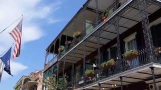 Royal Street in the French Quarter of New Orleans, Louisiana, United States of America. Urban view of American city with old building and tourists