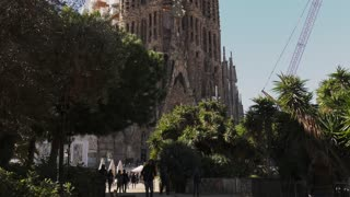Sagrada Familia Church By Gaudi In Barcelona Spain