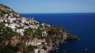 Sea And City Of Positano Along Amalfi Coast Italy