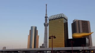 Skytree tower and Japanese urban landscape in Asakusa district, Tokyo, Japan, Asia. Modern buildings, city landmark and metropolitan design architecture