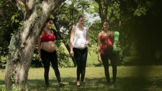 Slowmotion Portrait Pregnant Women Working Out Yoga Outdoors