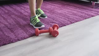 Sport And Fitness For Senior Woman Working Out At Home