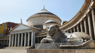 Statue Of Lion In Plebiscito Square Naples Italy