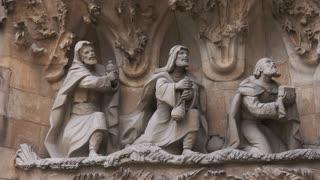 Statues On Facade Of Sagrada Familia Church In Barcelona