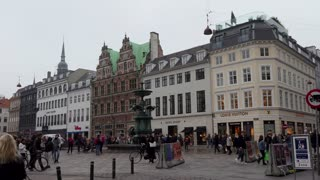 Strøget or Stroget pedestrian street, car free shopping area in Copenhagen, Denmark. Tourist attraction in city center with people shopping, shops, stores