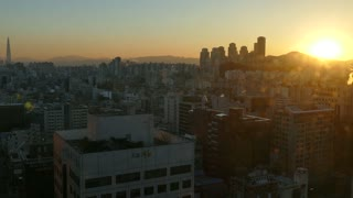 Sunrise in Seoul, South Korea, Asia. Urban view of the Korean capital city with modern buildings, skyscrapers in downtown, skyline early in the morning