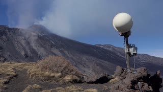 Surveillance camera and equipment to monitor the March 2017 eruption on Mount Etna in Sicily, southern Italy, the largest active volcano in Europe. UNESCO World Heritage site
