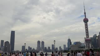The Bund of Shanghai, China, Asia with Huangpu River. Landscape in Chinese city with skyline, modern buildings, skyscrapers, Asian architecture in downtown area