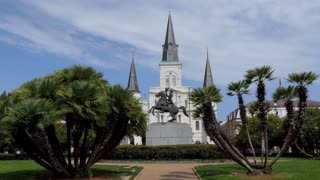 The Cathedral-Basilica of Saint Louis, also called St. Louis Cathedral, the seat of the Roman Catholic Archdiocese of New Orleans, Louisiana, United States of America. Old American religious building