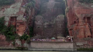 The Leshan Giant Buddha carved out of a cliff where the Min and Dadu rivers meet near Leshan, Sichuan, China, Asia. The largest and tallest stone Buddha statue in the world, UNESCO World Heritage Site