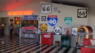 The Oklahoma Route 66 Museum in Clinton, Oklahoma, United States of America with a collection of memorabilia, old objects and vintage collectibles