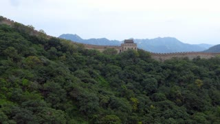 The section of the Great Wall of China in Mutianyu, near Beijing, China, Asia as seen from the cable car