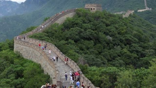 The section of the Great Wall of China in Mutianyu, near Beijing, China, Asia. People visiting the famous Chinese monument