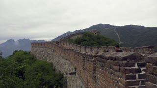 Time-lapse of the section of the Great Wall of China in Mutianyu, near Beijing, China, Asia. Crowd, people, tourists visiting the famous Chinese monument. Travel, holidays, tourism, landscape