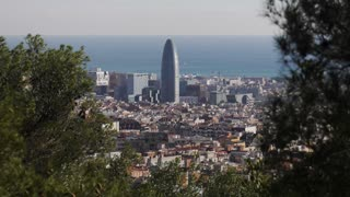 Torre Agbar And Barcelona Cityscape Seen From Parc Guell