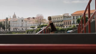 Tourist Woman Visiting Panama City Vacationing In Casco Antiguo