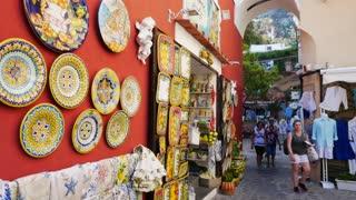 Tourists Buying Gifts In Positano Amalfi Coast Italy