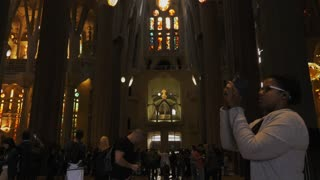 Tourists Doing Tour Inside Sagrada Familia Church