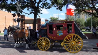 Traditional stagecoach for tourists in the historic Stockyards district of Fort Worth, Texas, United States of America